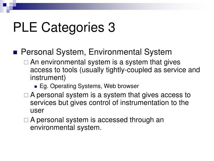 PLE Categories 3