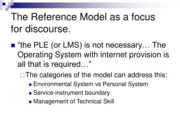 The Reference Model as a focus for discourse.