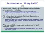 assurances on lifting the lid