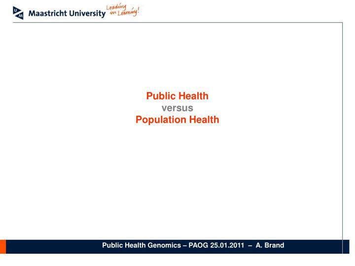 Public health versus population health