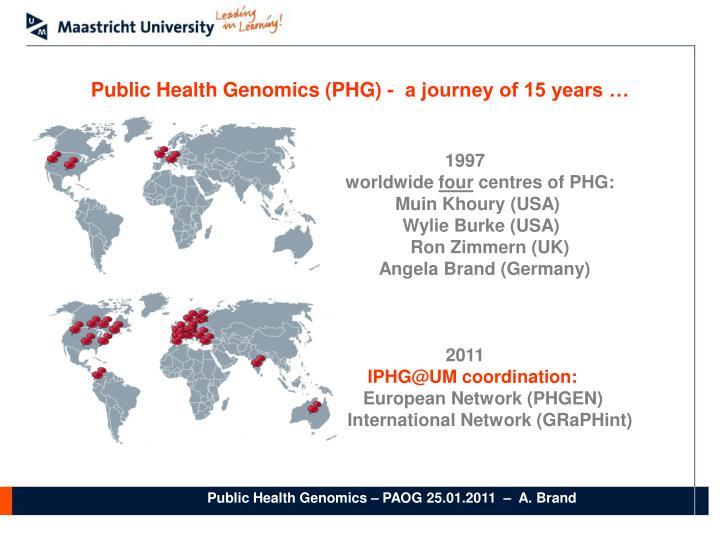 Public Health Genomics (PHG) -  a journey of 15 years …