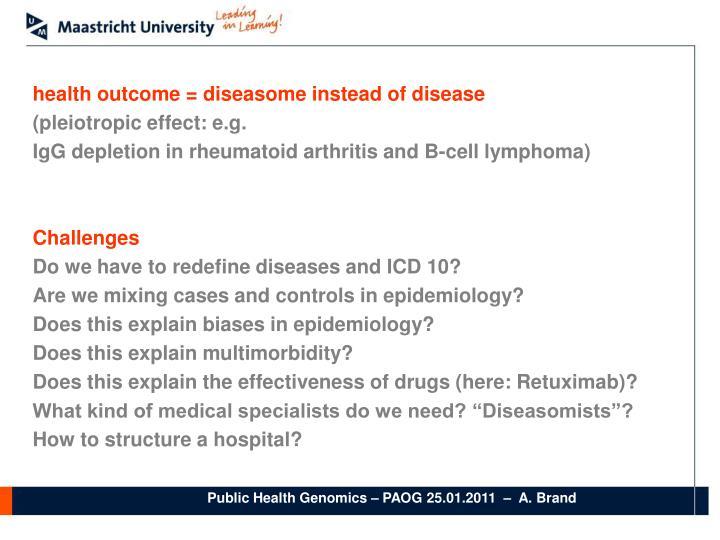 health outcome = diseasome instead of disease