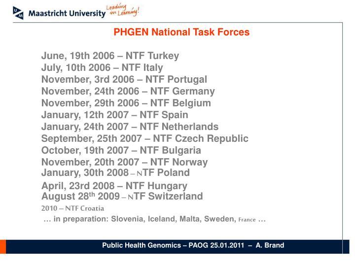 PHGEN National Task Forces