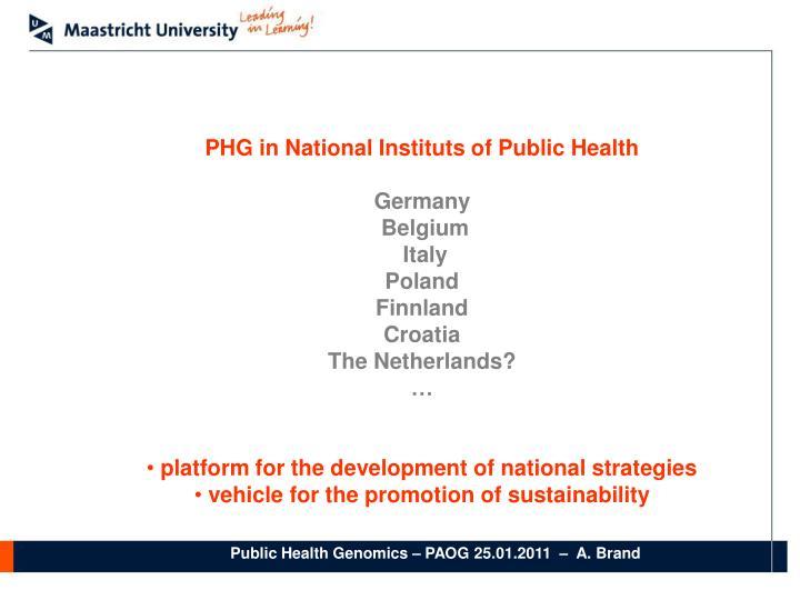 PHG in National Instituts of Public Health