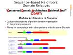 sequence based neighbors domain relatives
