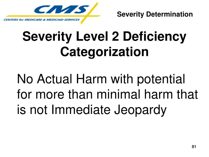 No Actual Harm with potential for more than minimal harm that is not Immediate Jeopardy