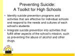preventing suicide a toolkit for high schools1