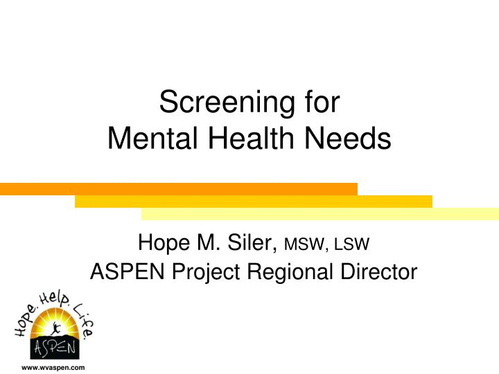 screening for mental health needs n.
