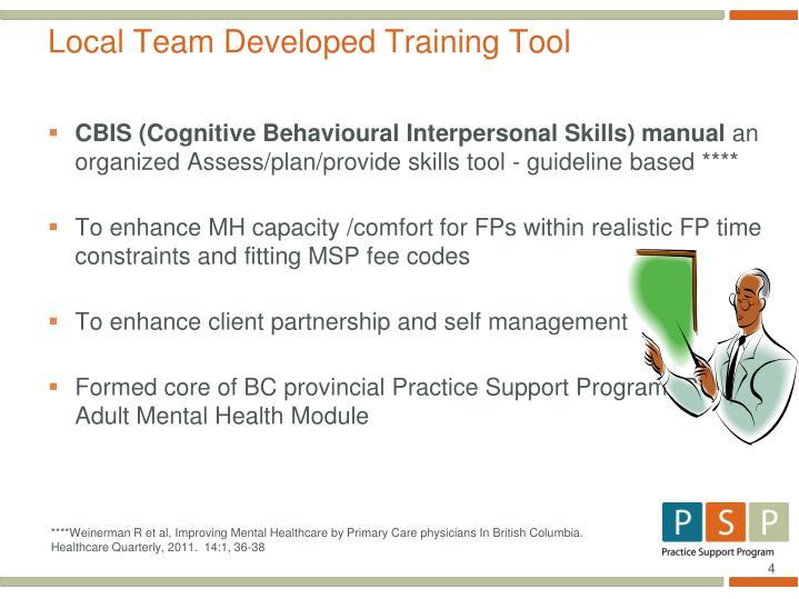 Local Team Developed Training Tool