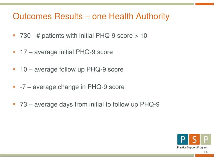 Outcomes Results – one Health Authority