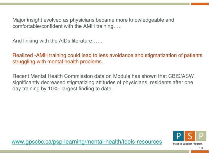 Major insight evolved as physicians became more knowledgeable and comfortable/confident with the AMH training…..