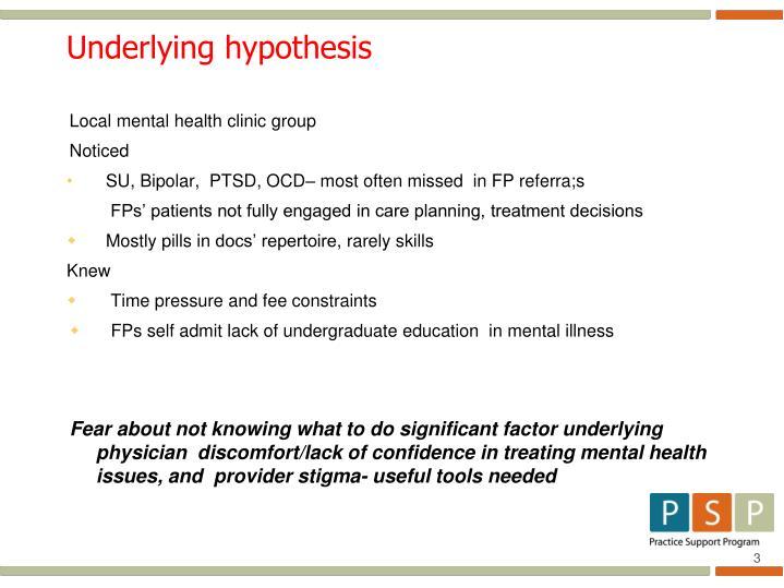 Underlying hypothesis