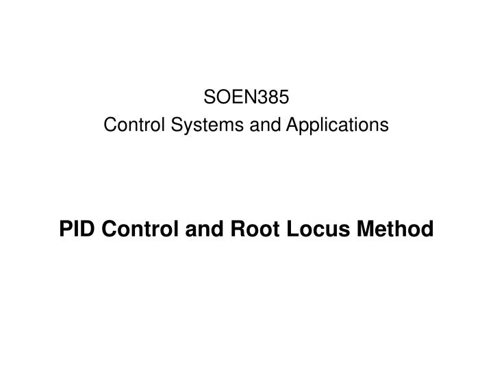pid control and root locus method n.