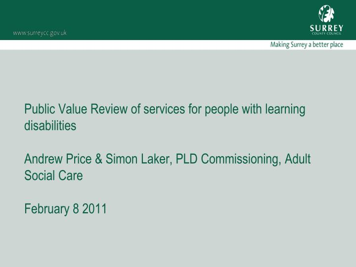 Public Value Review of services for people with learning disabilities