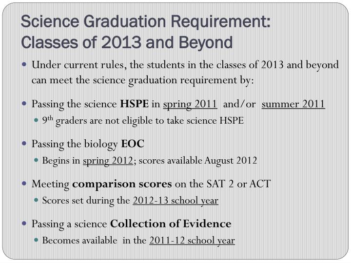 Science Graduation Requirement:  Classes of 2013 and Beyond
