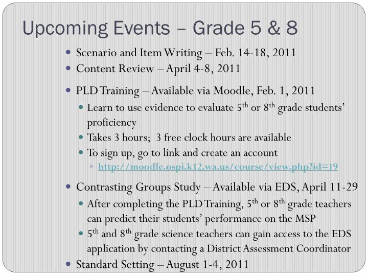 Upcoming Events – Grade 5 & 8