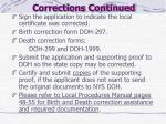 corrections continued