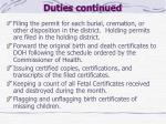 duties continued