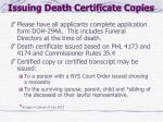 issuing death certificate copies