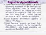 registrar appointments