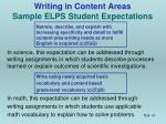 writing in content areas sample elps student expectations