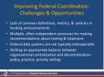 improving federal coordination challenges opportunities
