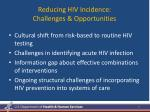 reducing hiv incidence challenges opportunities