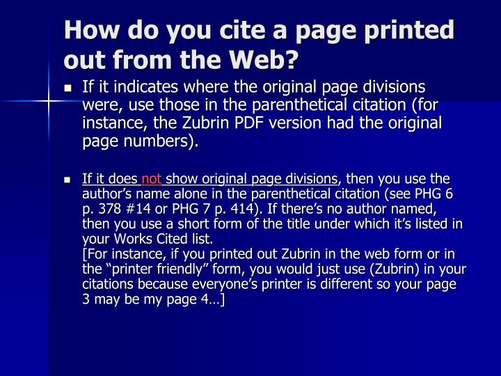 How do you cite a page printed out from the Web?