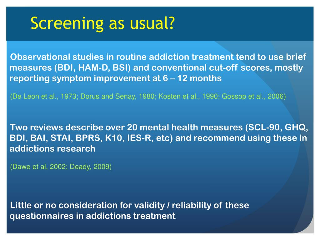PPT - Mental health screening and outcome measurement in ...