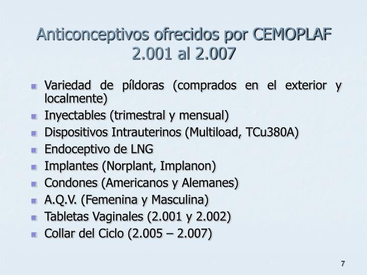 Anticonceptivos ofrecidos por CEMOPLAF