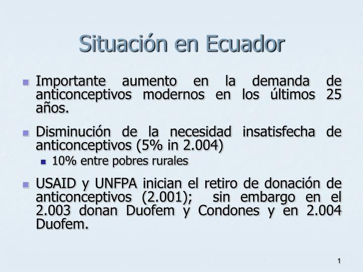 Situaci n en ecuador