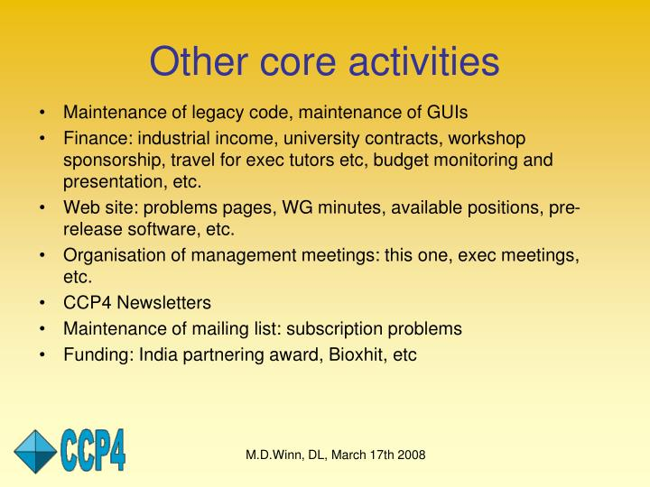 Other core activities