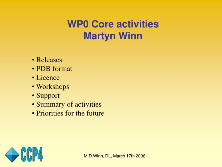 WP0 Core activities