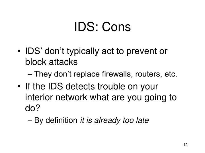 IDS: Cons
