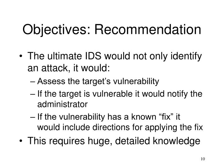 Objectives: Recommendation
