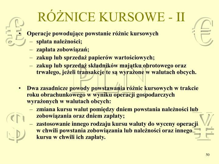 RÓŻNICE KURSOWE - II