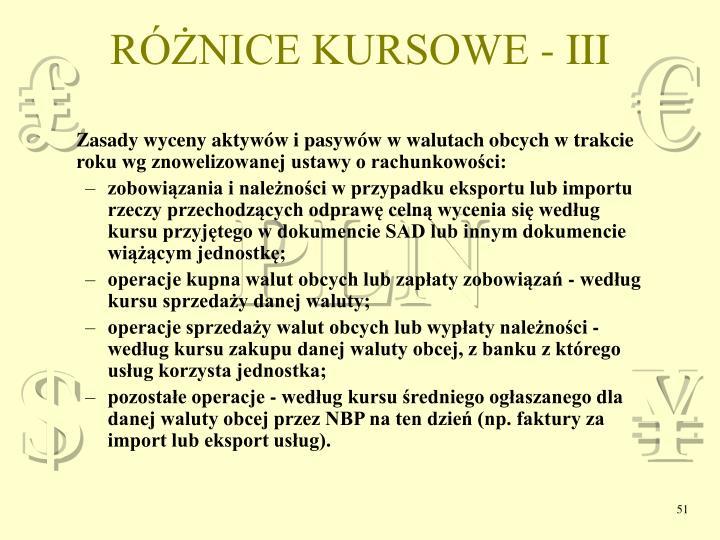 RÓŻNICE KURSOWE - III