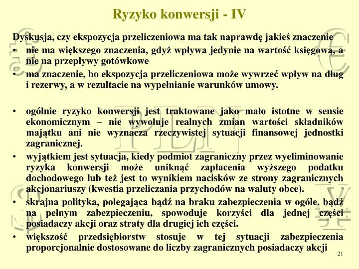 Ryzyko konwersji - IV