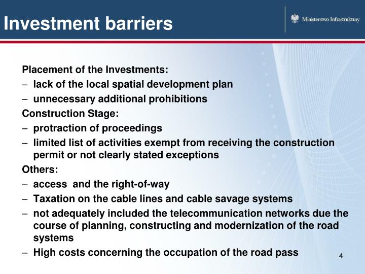 Investment barriers