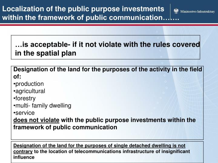 Localization of the public purpose investments