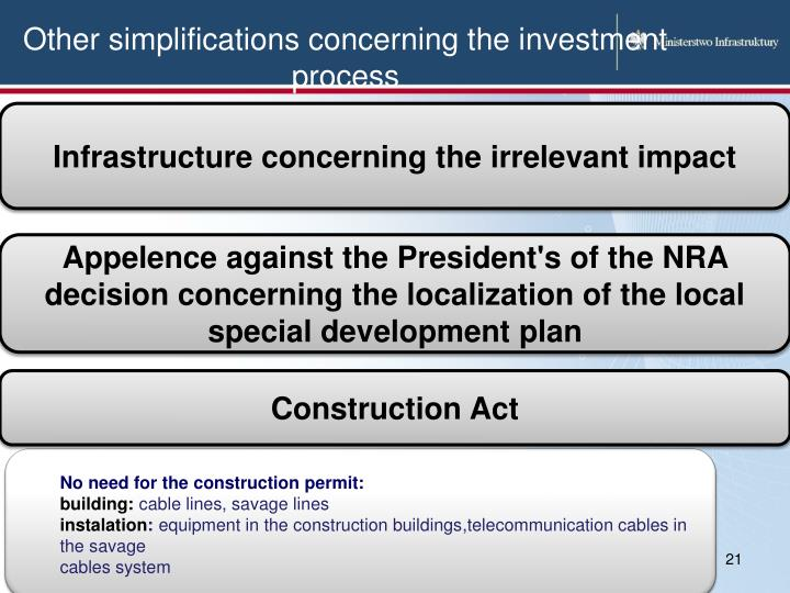 Other simplifications concerning the investment process