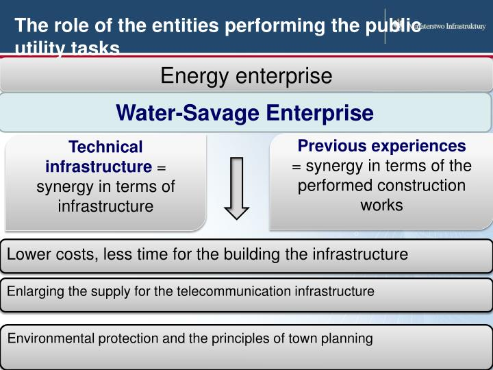 The role of the entities performing the public utility tasks