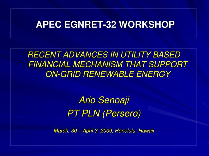 Apec egnret 32 workshop
