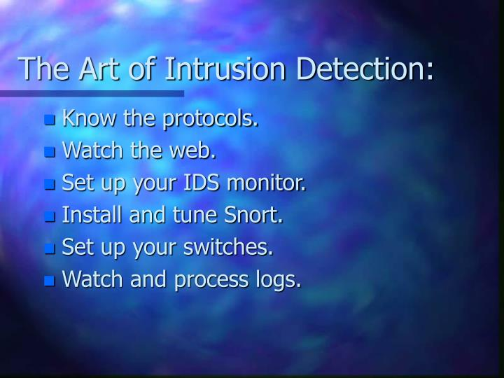 The art of intrusion detection