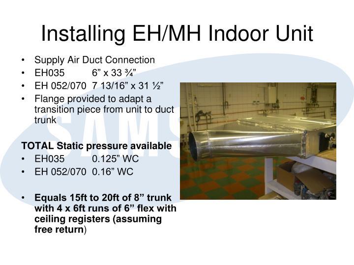 Installing EH/MH Indoor Unit