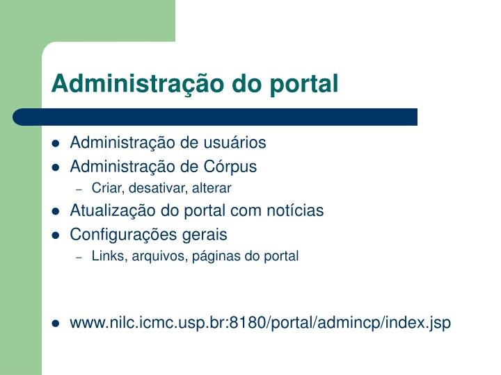 Administração do portal