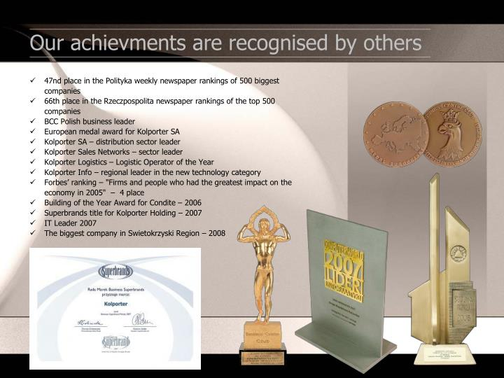 Our achievments are recognised by others