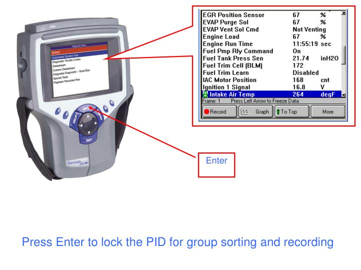 Press Enter to lock the PID for group sorting and recording