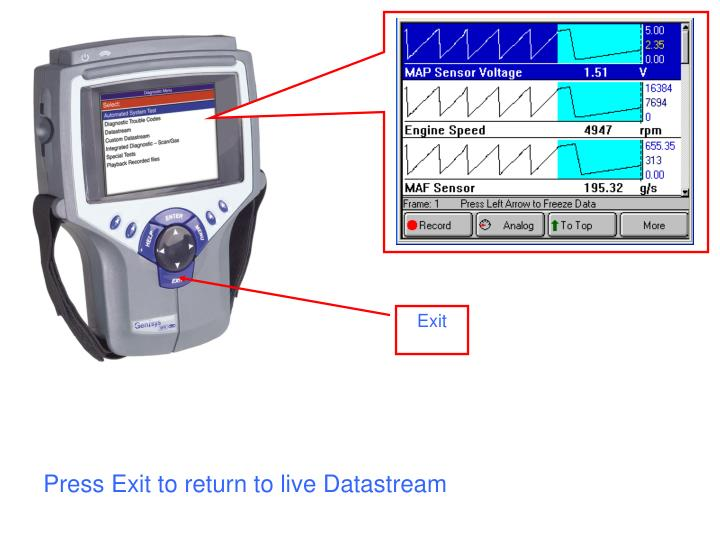 Press Exit to return to live Datastream