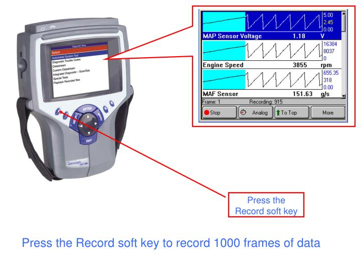Press the Record soft key to record 1000 frames of data
